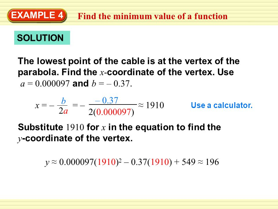 Find the minimum value of a function