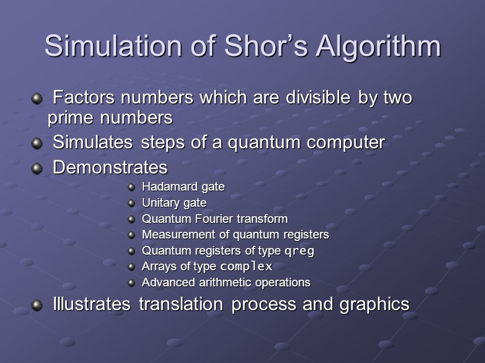 Simulation of Shor's Algorithm