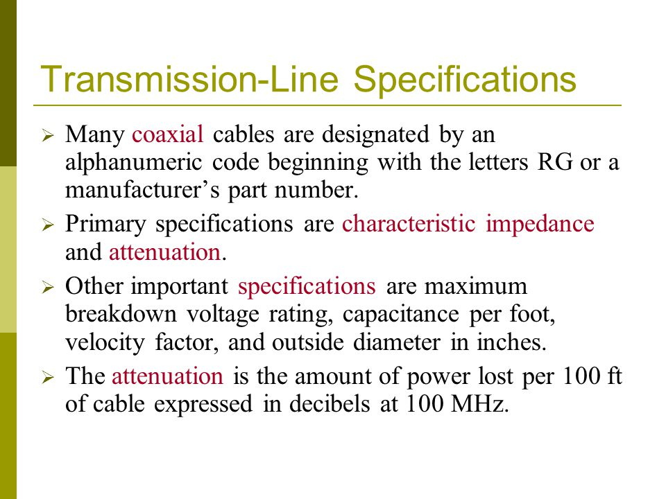 Transmission-Line Specifications