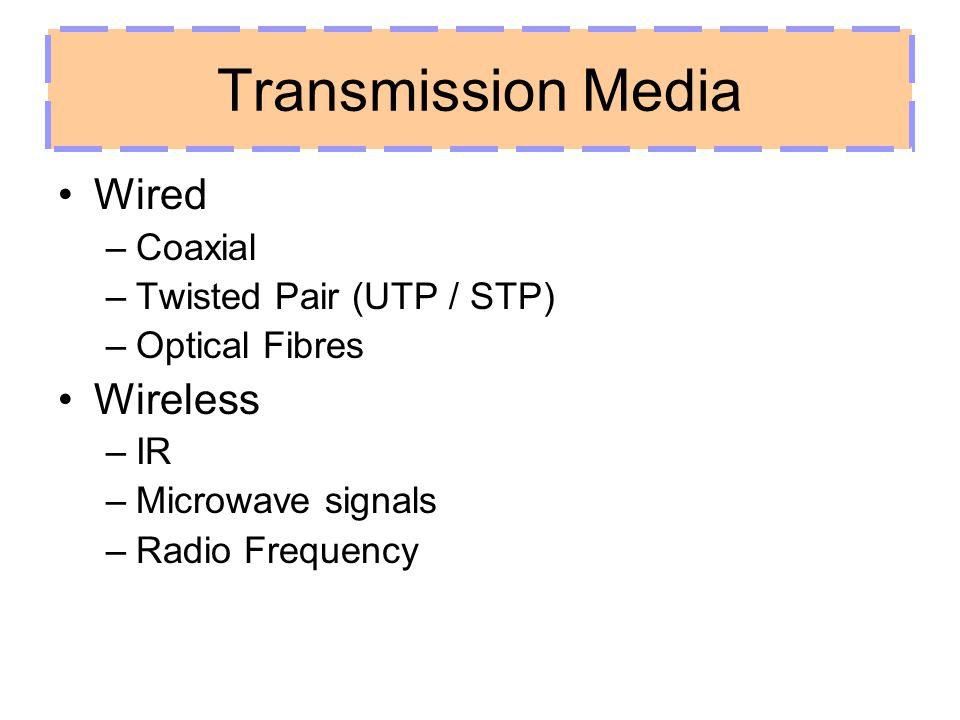 Transmission Media Wired Wireless Coaxial Twisted Pair (UTP / STP)