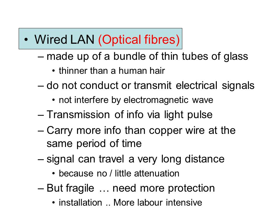 Wired LAN (Optical fibres)