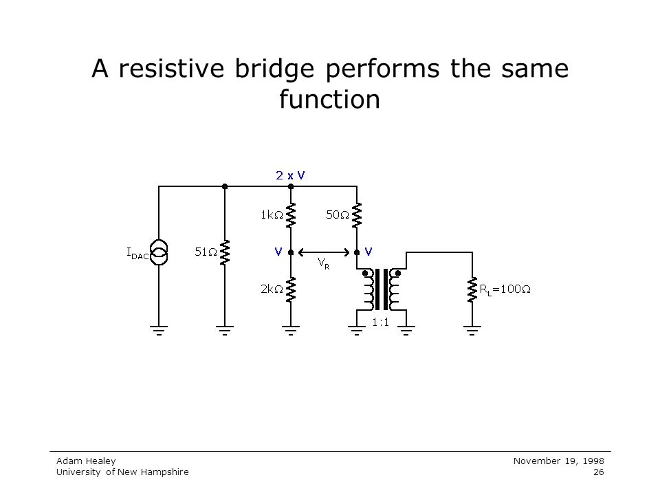 A resistive bridge performs the same function