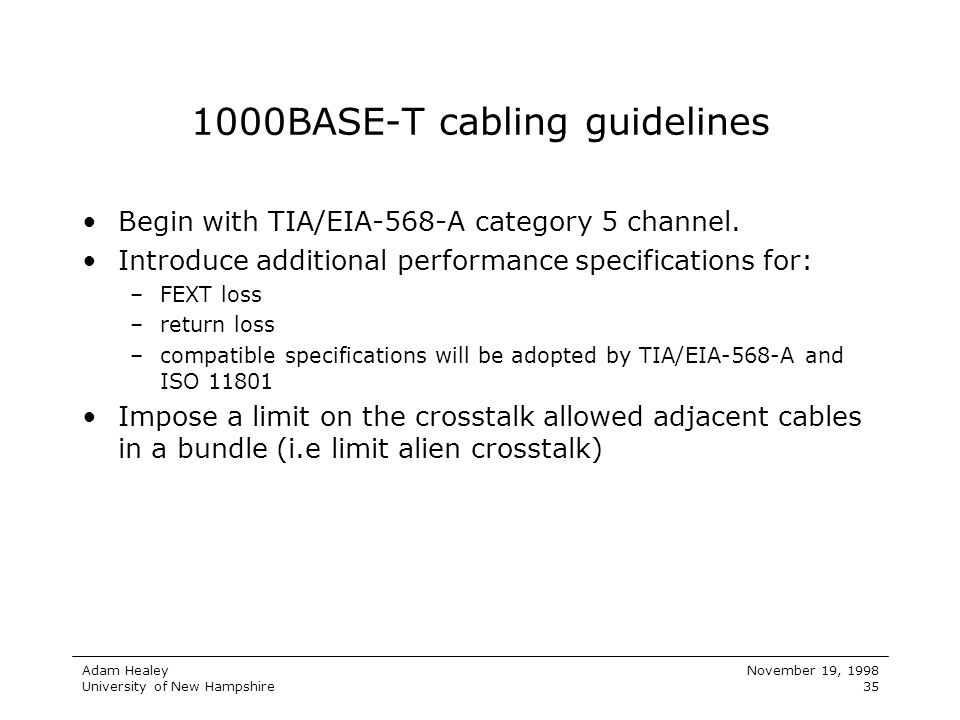 1000BASE-T cabling guidelines