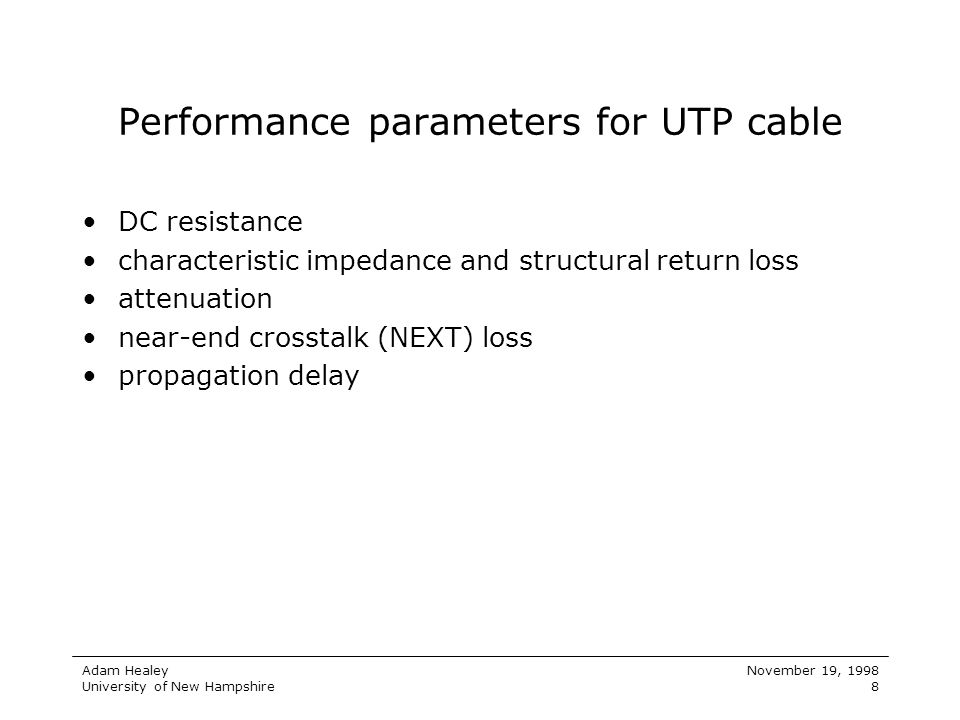 Performance parameters for UTP cable