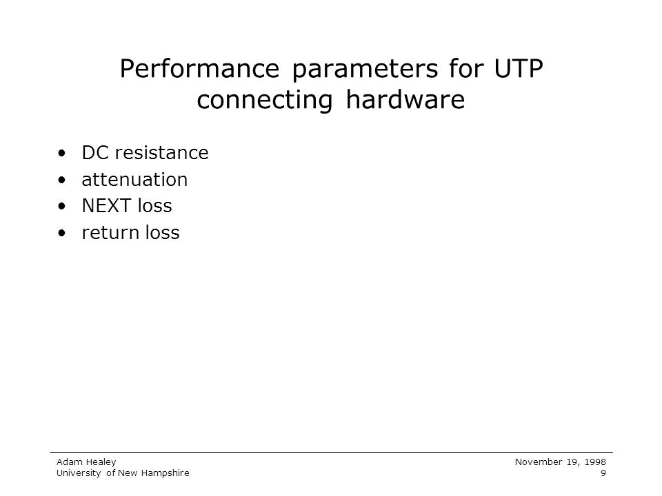 Performance parameters for UTP connecting hardware