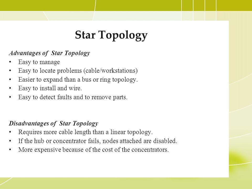 Star Topology Advantages of Star Topology Easy to manage