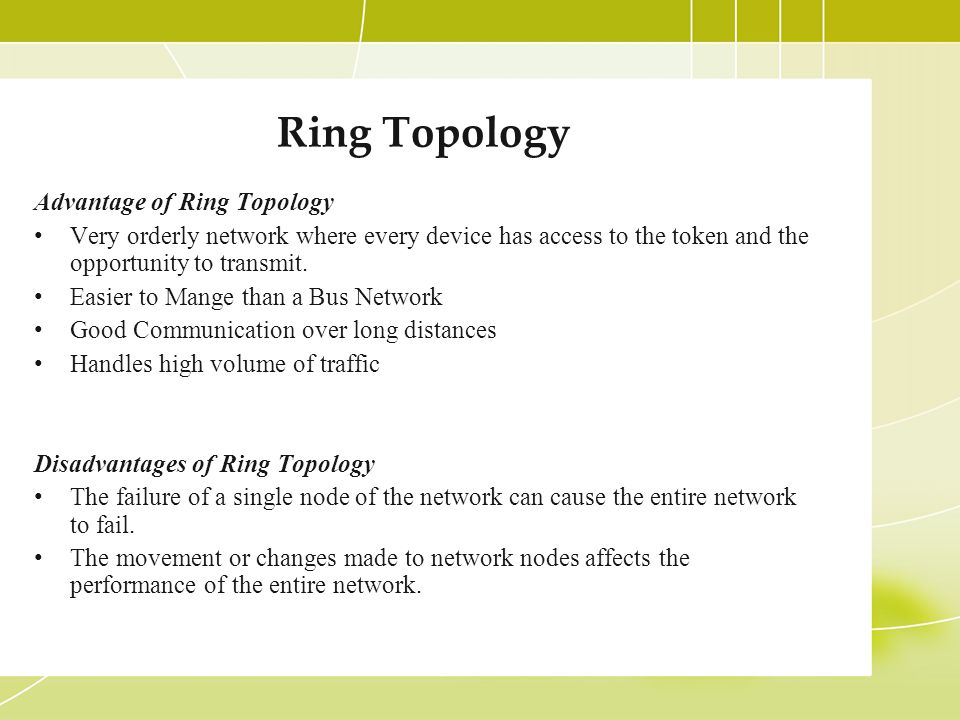 Ring Topology Advantage of Ring Topology