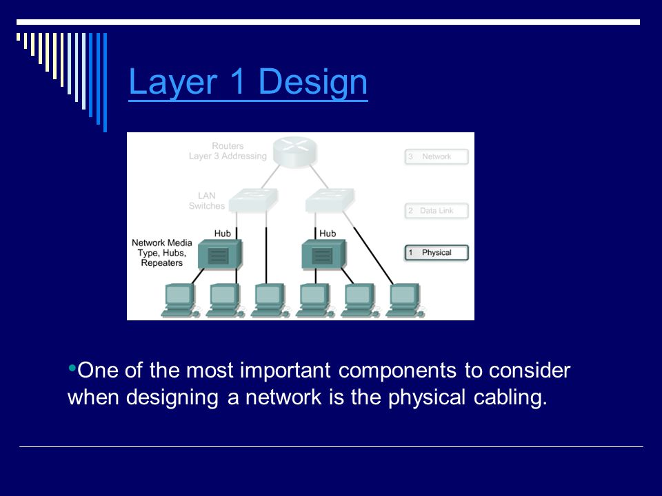 Layer 1 Design One of the most important components to consider when designing a network is the physical cabling.
