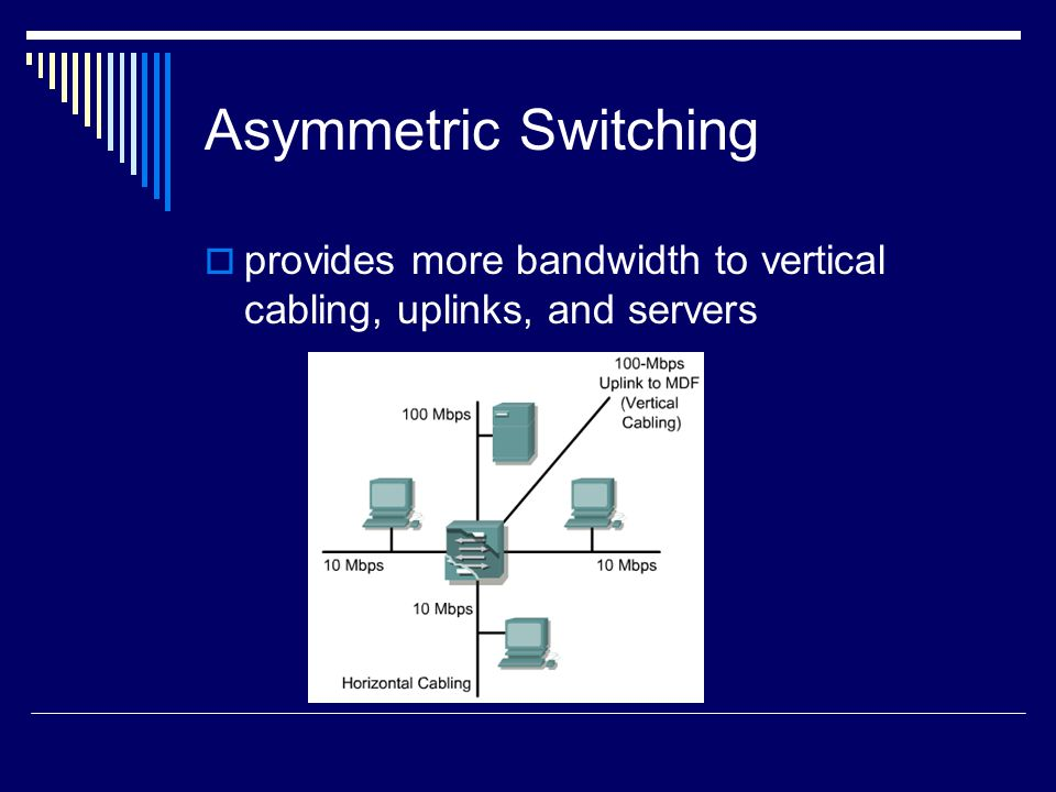Asymmetric Switching provides more bandwidth to vertical cabling, uplinks, and servers