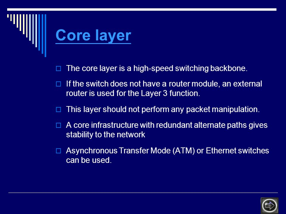 Core layer The core layer is a high-speed switching backbone.