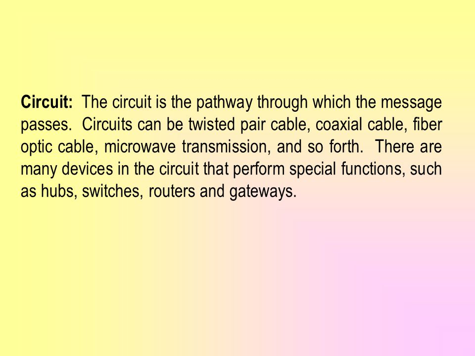Circuit: The circuit is the pathway through which the message passes