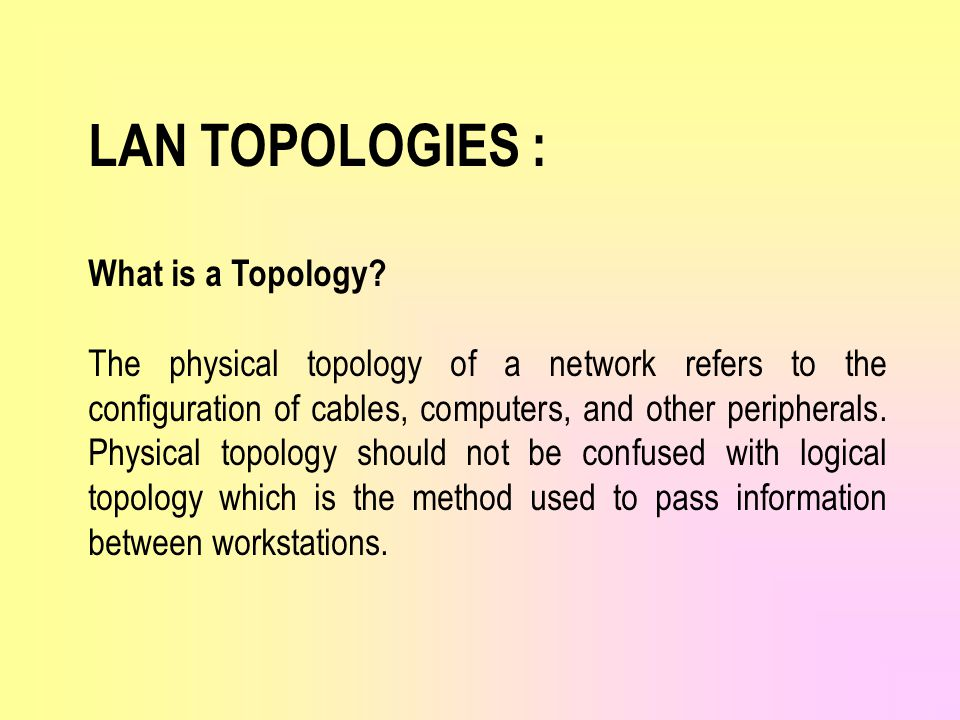 LAN TOPOLOGIES : What is a Topology