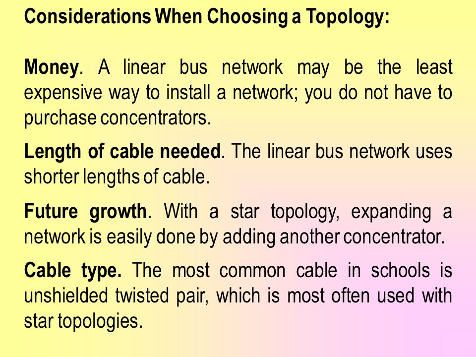 Considerations When Choosing a Topology: