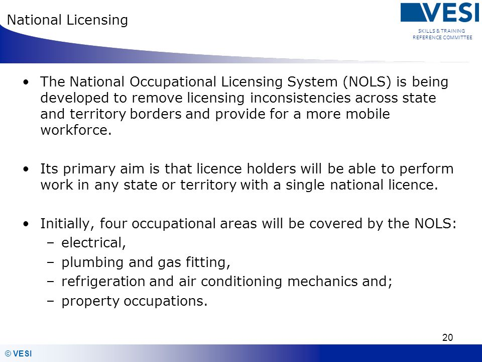 National Licensing