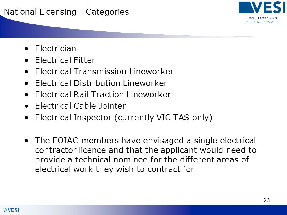 National Licensing - Categories