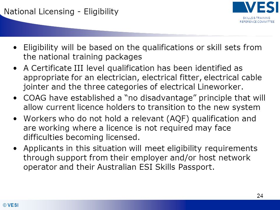 National Licensing - Eligibility