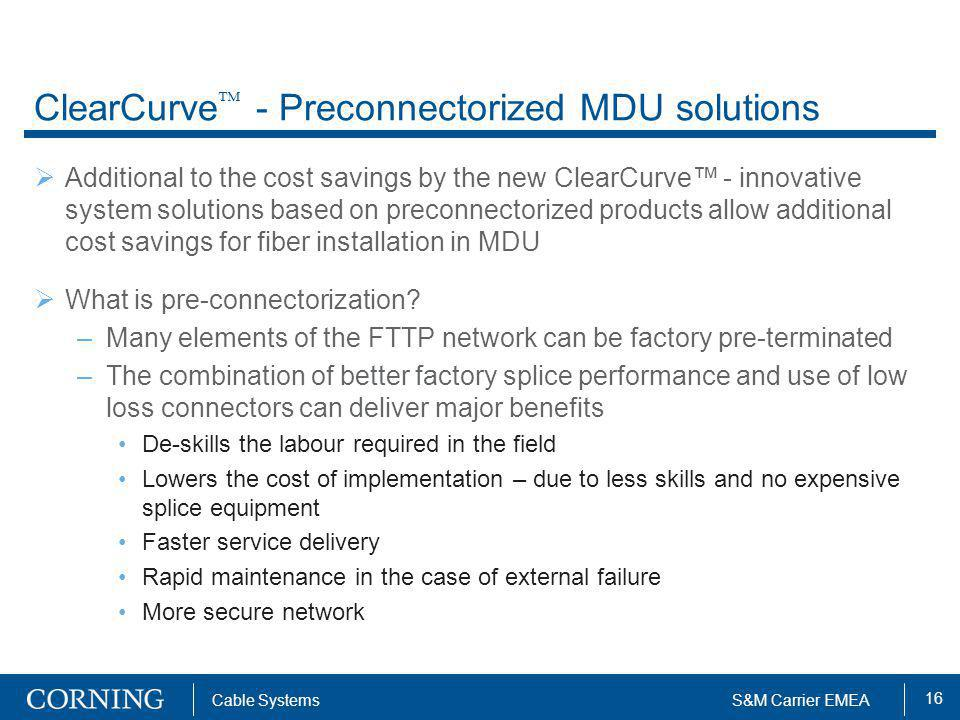 ClearCurve - Preconnectorized MDU solutions