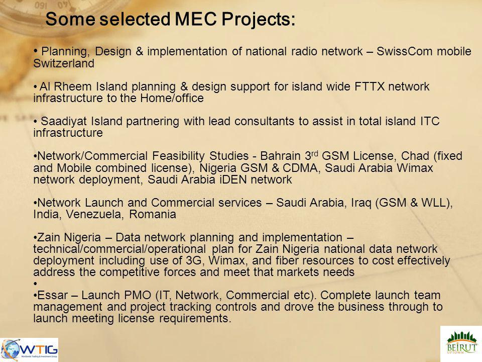 Some selected MEC Projects:
