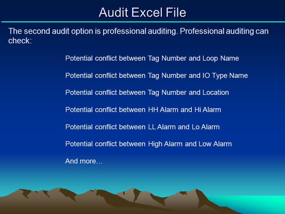 Audit Excel File The second audit option is professional auditing. Professional auditing can check: