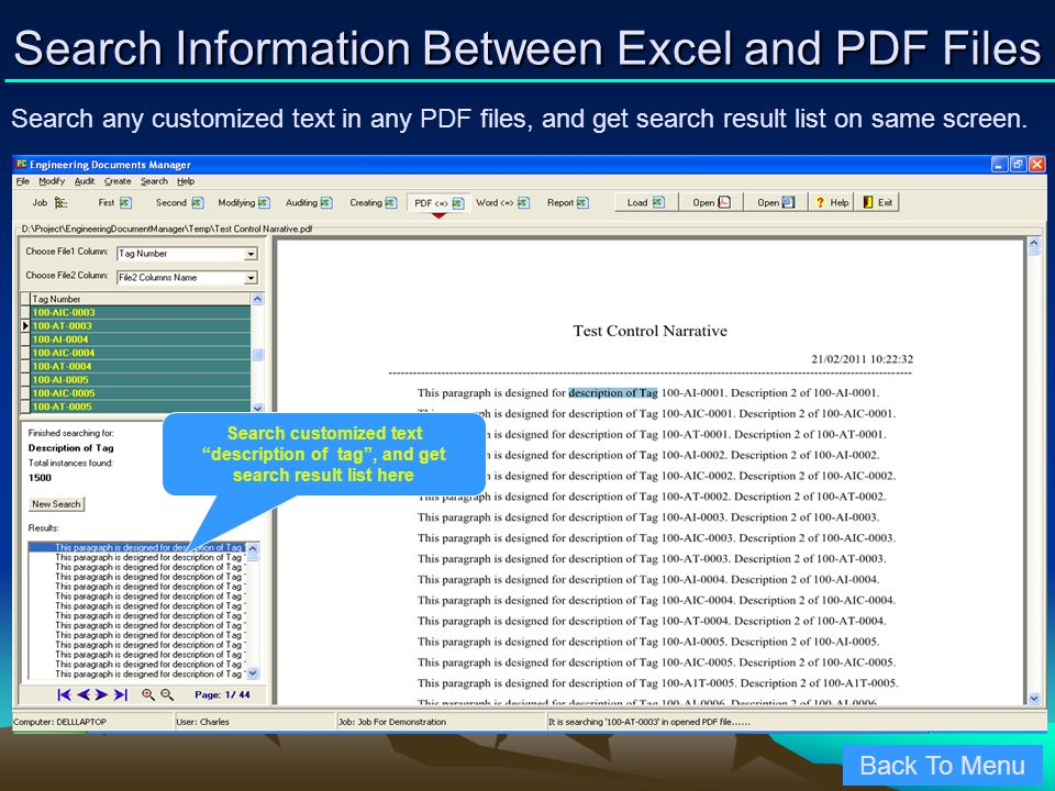 Search Information Between Excel and PDF Files