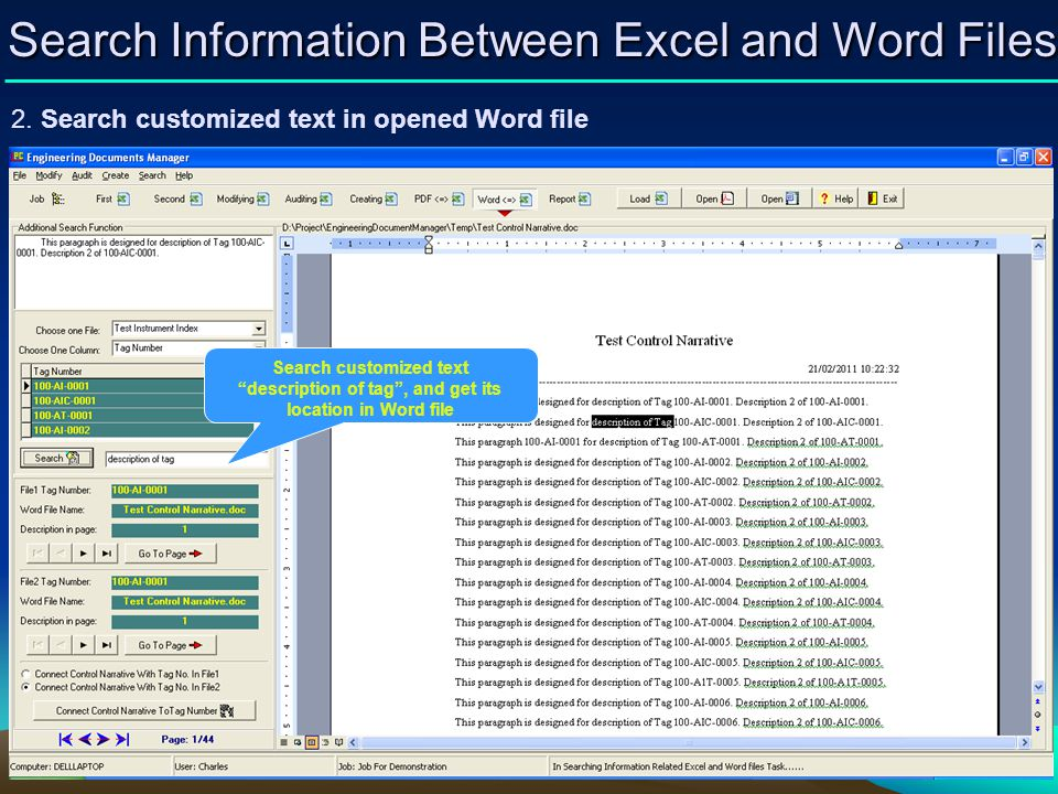 Search Information Between Excel and Word Files