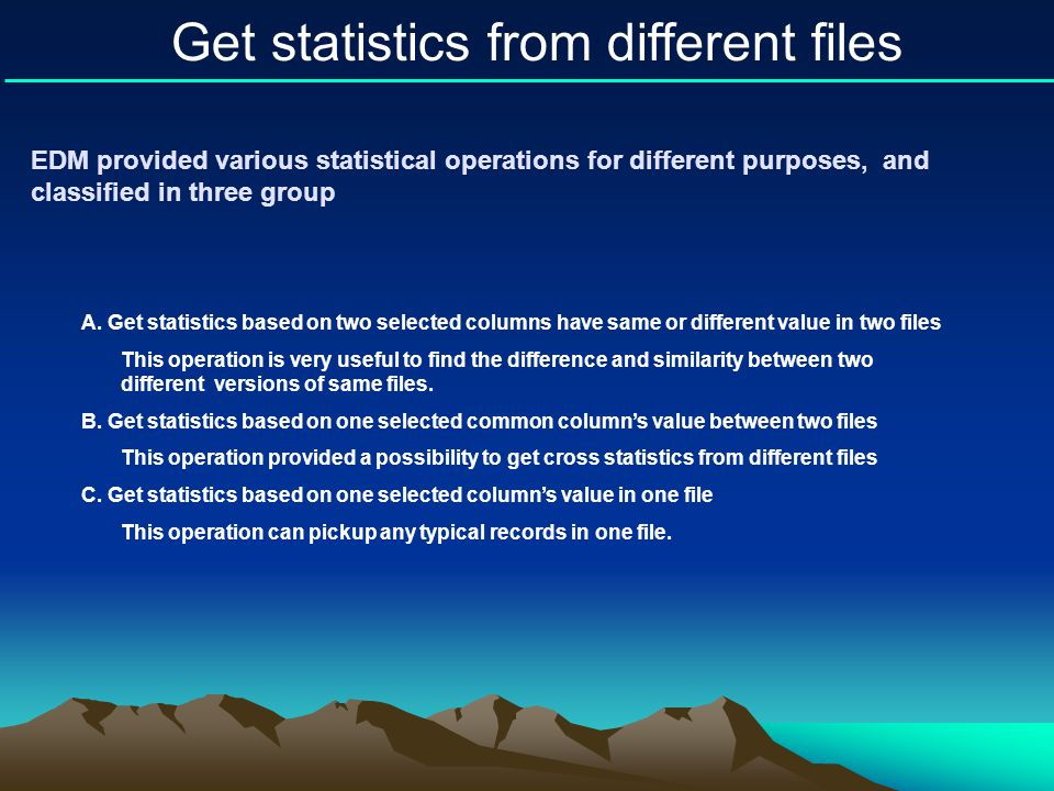 Get statistics from different files