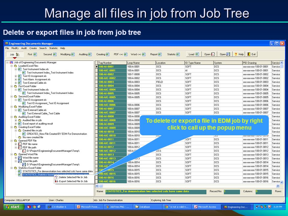 Manage all files in job from Job Tree
