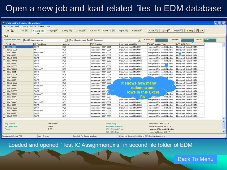 Open a new job and load related files to EDM database