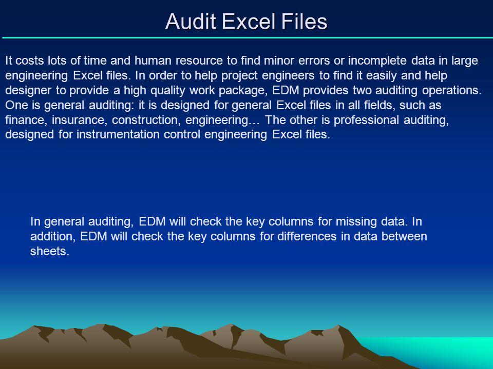 Audit Excel Files