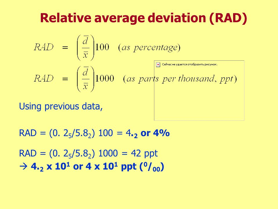 Relative average deviation (RAD)