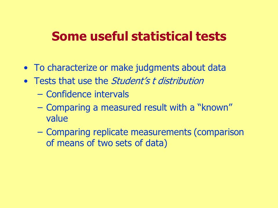 Some useful statistical tests