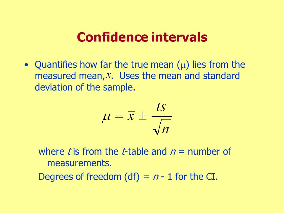 Confidence intervals Quantifies how far the true mean () lies from the measured mean, . Uses the mean and standard deviation of the sample.