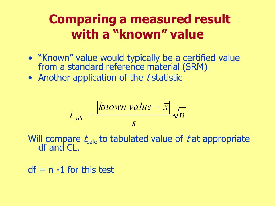 Comparing a measured result with a known value