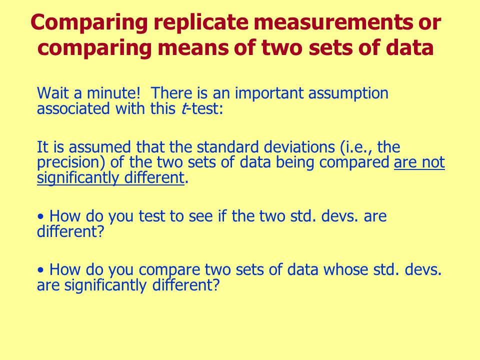 Comparing replicate measurements or comparing means of two sets of data
