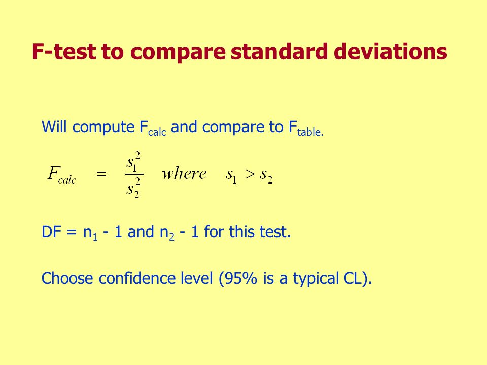 F-test to compare standard deviations