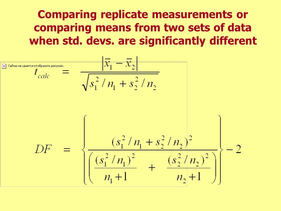 Comparing replicate measurements or comparing means from two sets of data when std.