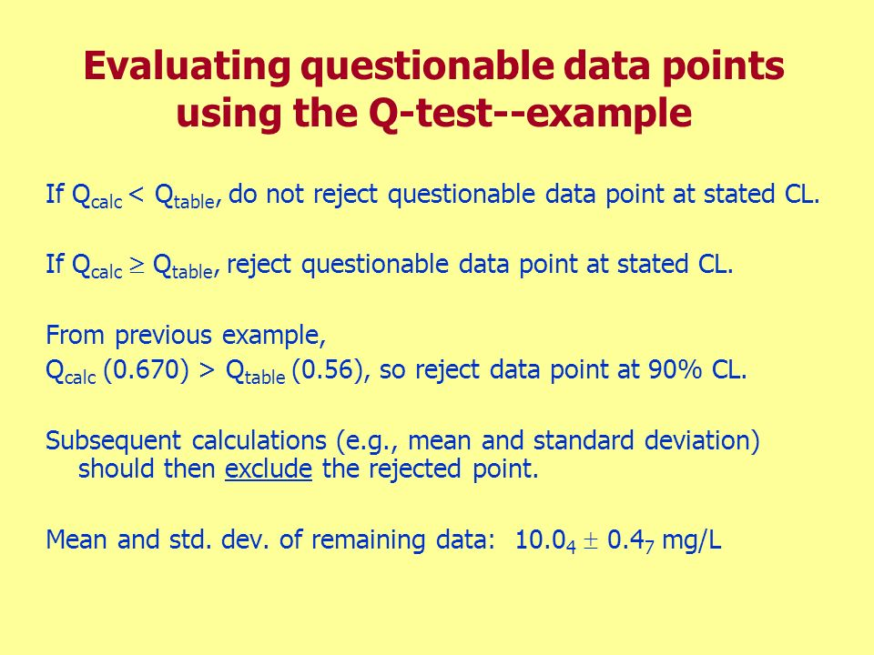 Evaluating questionable data points using the Q-test--example