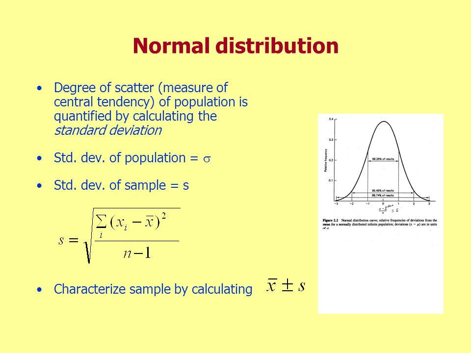 Normal distribution Degree of scatter (measure of central tendency) of population is quantified by calculating the standard deviation.