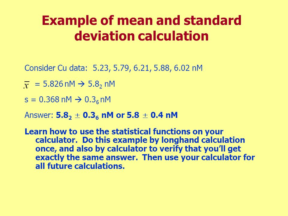 Example of mean and standard deviation calculation