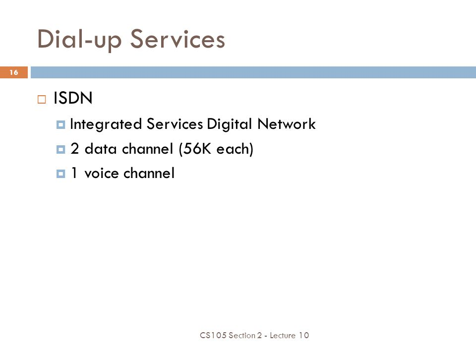 Dial-up Services ISDN Integrated Services Digital Network