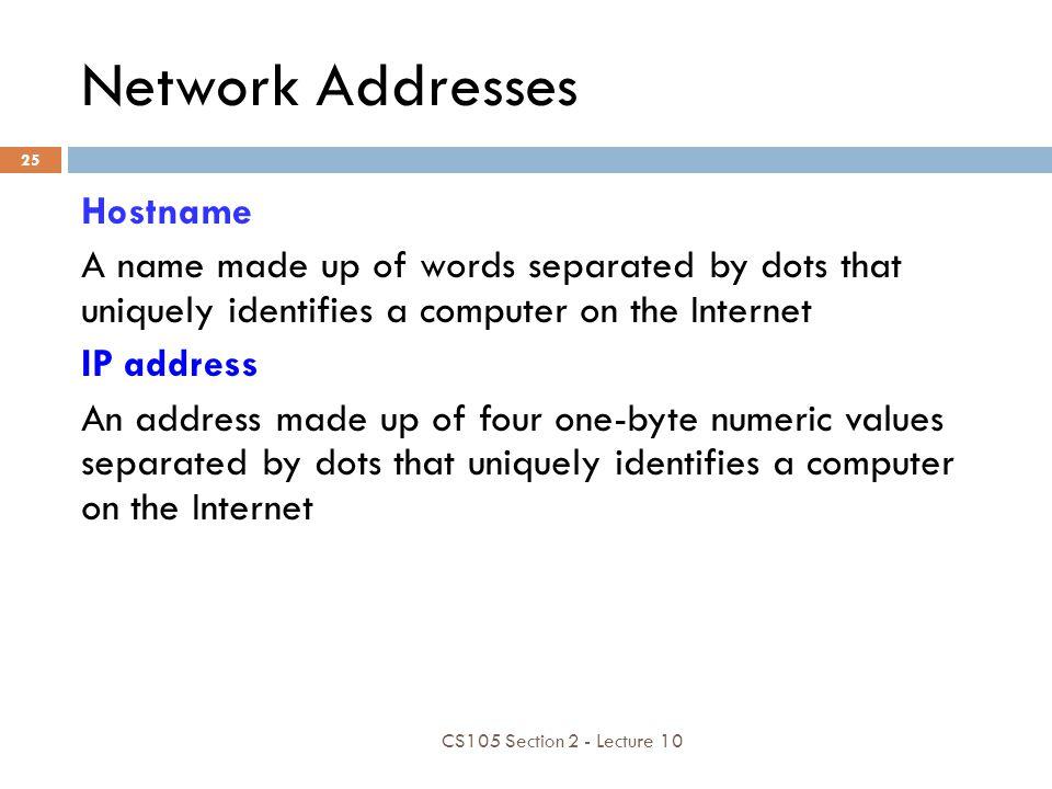 Network Addresses Hostname