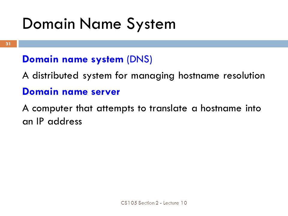 Domain Name System Domain name system (DNS)