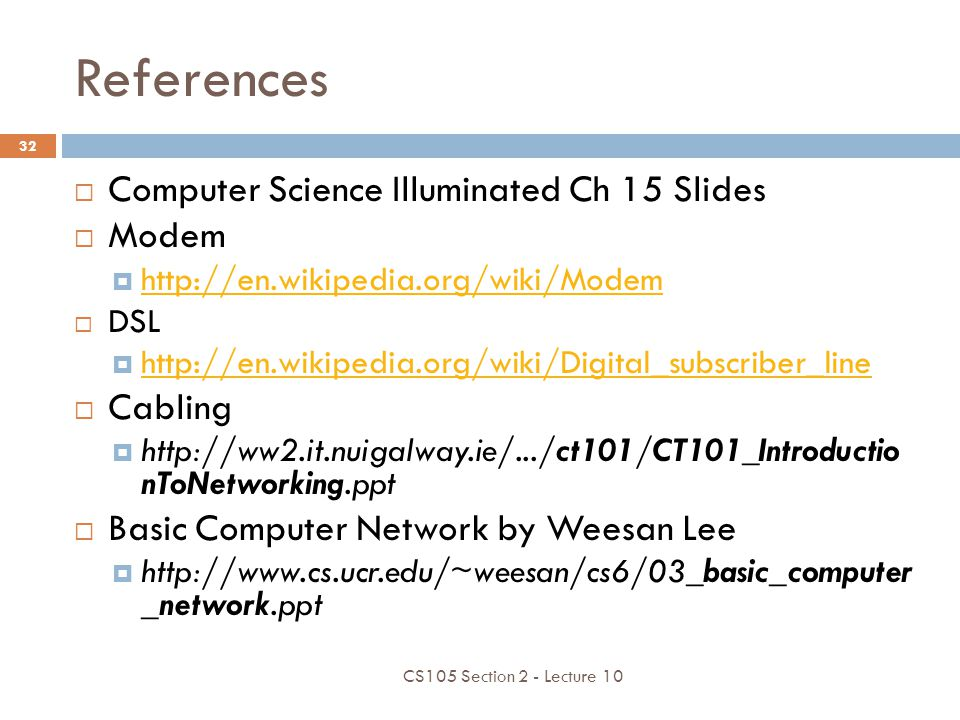 References Computer Science Illuminated Ch 15 Slides Modem Cabling