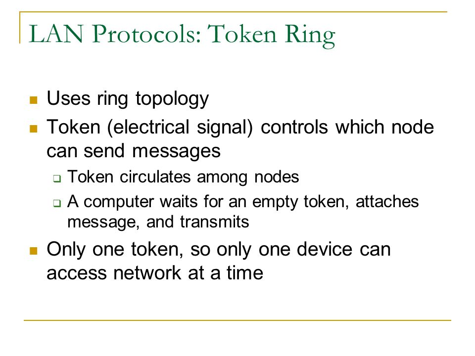 LAN Protocols: Token Ring
