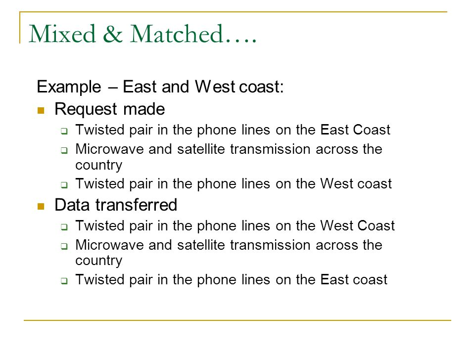 Mixed & Matched…. Example – East and West coast: Request made