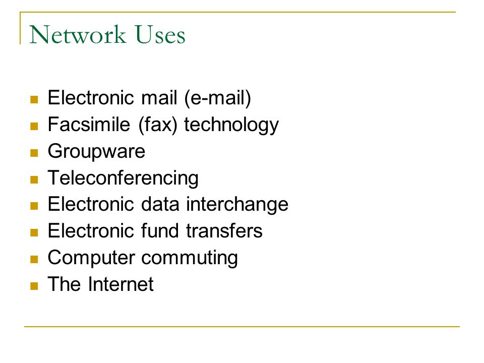 Network Uses Electronic mail (e-mail) Facsimile (fax) technology