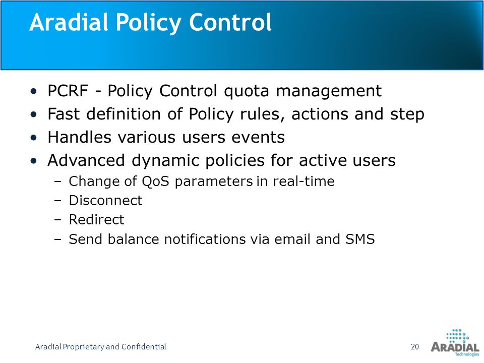 Aradial Policy Control