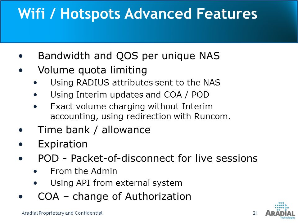 Wifi / Hotspots Advanced Features