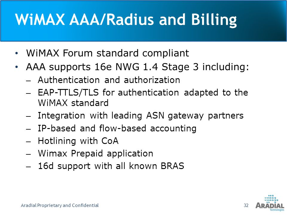 WiMAX AAA/Radius and Billing