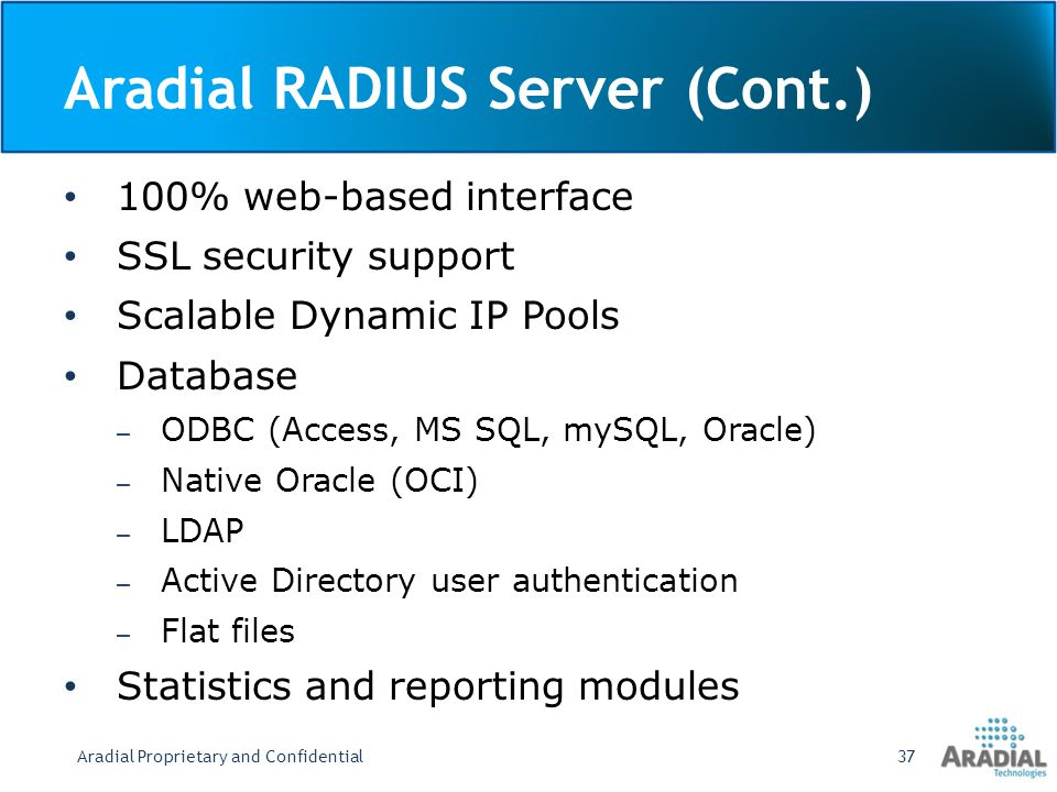 Aradial RADIUS Server (Cont.)